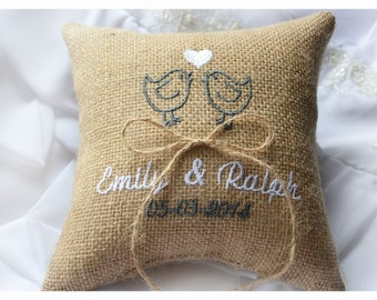 Burlap Wedding pillow , lovebirds wedding pillow , ring bearer pillow, ring bearer pillow with Custom embroidery (R40B)