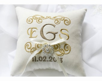 Rhinestone wedding pillow, wedding ring pillow ,Ring bearer pillow, Monogrammed ring pillow , embroidery wedding pillow (R37)