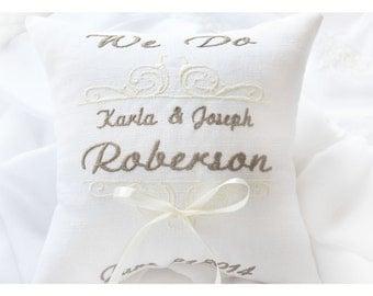 We Do wedding pillow, Ring bearer pillow , wedding ring pillow, Personalized ring bearer pillow ,embroidered pillow (BRP11)