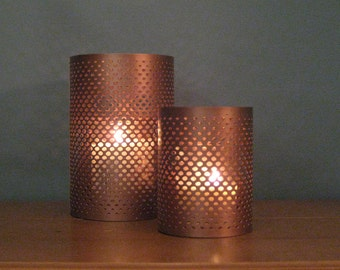 Shiny Metallic COPPER Small 4x3 Metal Candleholder Outdoor Wedding Garden Party DIY Fishnet Pattern Candle Shade