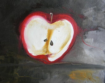 Red apple original oil painting on canvas, contemporary art work, whimsical apple in oils, 12x12 by Marla