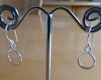 Sterling Silver Infinity Eternity Dangle Wire Earrings