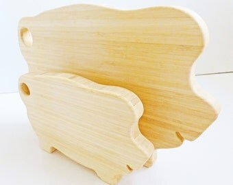 Pig Cutting Board Set - Large & Mini -  Vintage Style, Renewable Bamboo, Heirloom Quality, Great Gift