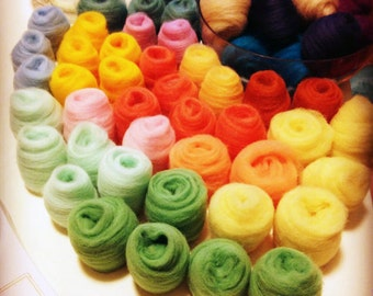 36 Colours 180g Felting Wool Needle Felting Wool Platter- Wool Roving for Felting and Spinning - READY TO SHIP - 6.4 Oz / 180 grams