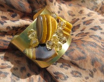 Gold Cuff Bracelet  with Tiger Eye Stones  and Swarovski Crystal