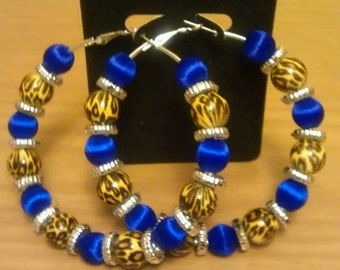 Love and Hip Hop and Basketball wives inspired hoop with leopard and blue beads