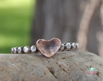 Sterling silver beaded polka dot ring hammered copper heart initial personalized hand stamped jewelry mixed metal