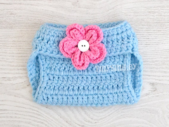 Crochet A Flowers Diaper Cover Pattern : Baby Diaper Cover Crochet Flower Baby Diaper Cover by ...