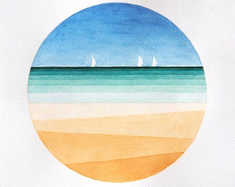 Print sea beach watercolor painting, geometric illustration,seascape circle wall art decor yellow blue sailboat