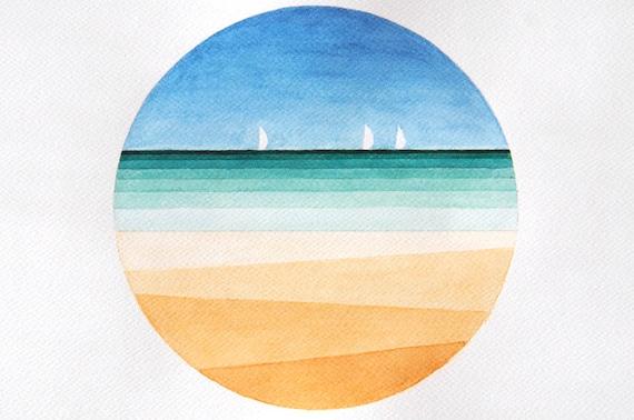 Print Sea Beach Watercolor Painting Geometric