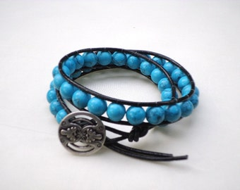Leather Wrap bracelet - Turquoise beads with metal button