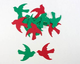 100 Christmas Birds Confetti, Red and Green Doves, Dove Christmas Embellishments, Christmas Confetti, Paper Birds