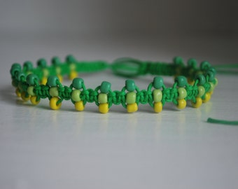 Ombre inspired Green Hemp and Glass Bead Anklet