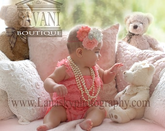 baby lace romper, coral pink Lace Romper,wedding flower girl, Petti romper, Lace Petti Romper, photo prop outfit,baby outfit, baby clothing