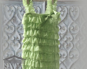Baby green Lace Romper, Petti romper, Lace Petti Romper, Romper
