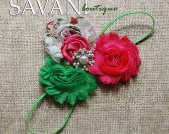 Green pink Baby headband, vintage headband, shabby chic roses headband, headband