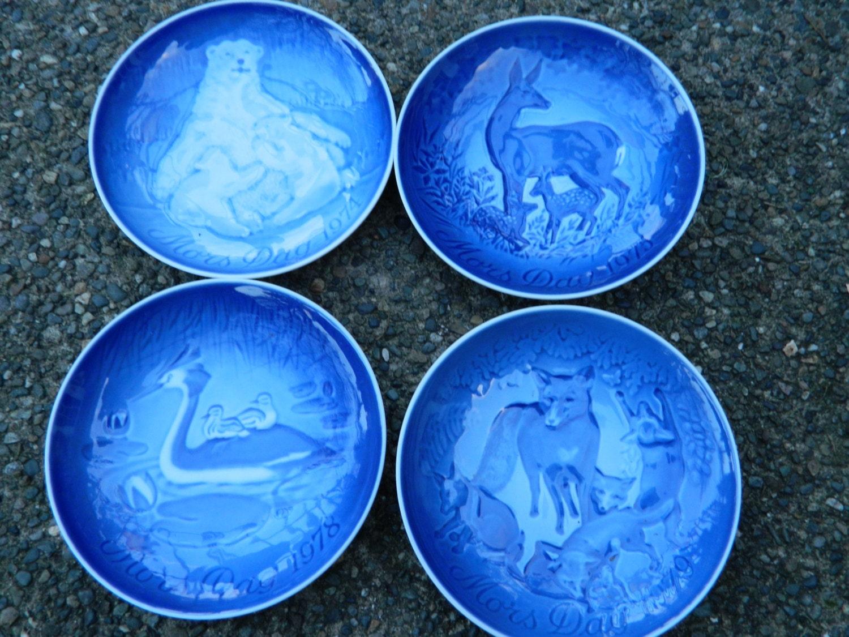 Vintage B Amp G Copenhagen Porcelain Plates From Denmark Set