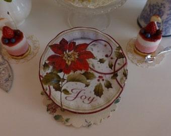 Joy Poinsettia Christmas Plate for Dollhouse
