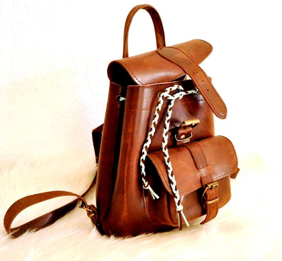 Brown Leather Backpack Purse Small Backpack Leather Bag