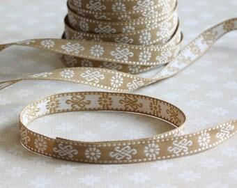 Beige Swirl Embroidered Ribbon