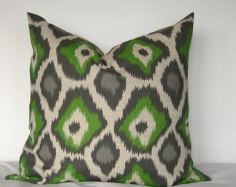 18x18 Pillow Cover. Adrian Pillow Cover. Green and greys Pillow Cover.Throw Pillow
