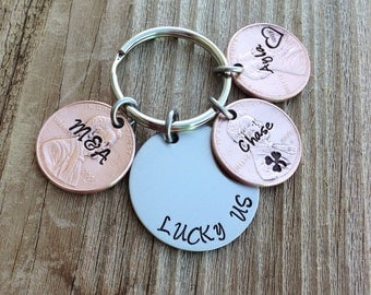 Lucky us penny keychain 3 pennies  hand stamped copper anniversary gift wedding stainless steel and copper jewelry