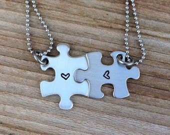 Mini puzzle piece necklace set custom hand stamped best friend, sisters ,bridesmaids stainless steel set of two jewelry