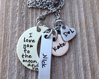 Mothers necklace, charm necklace , I love you to the moon hand stamped mixed metal Mother's Day gift