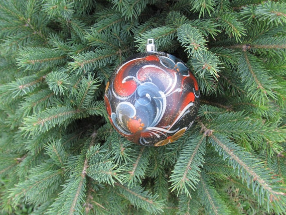 Norwegian Rosemaling in Telemark Style on Shatterproof Christmas Ball