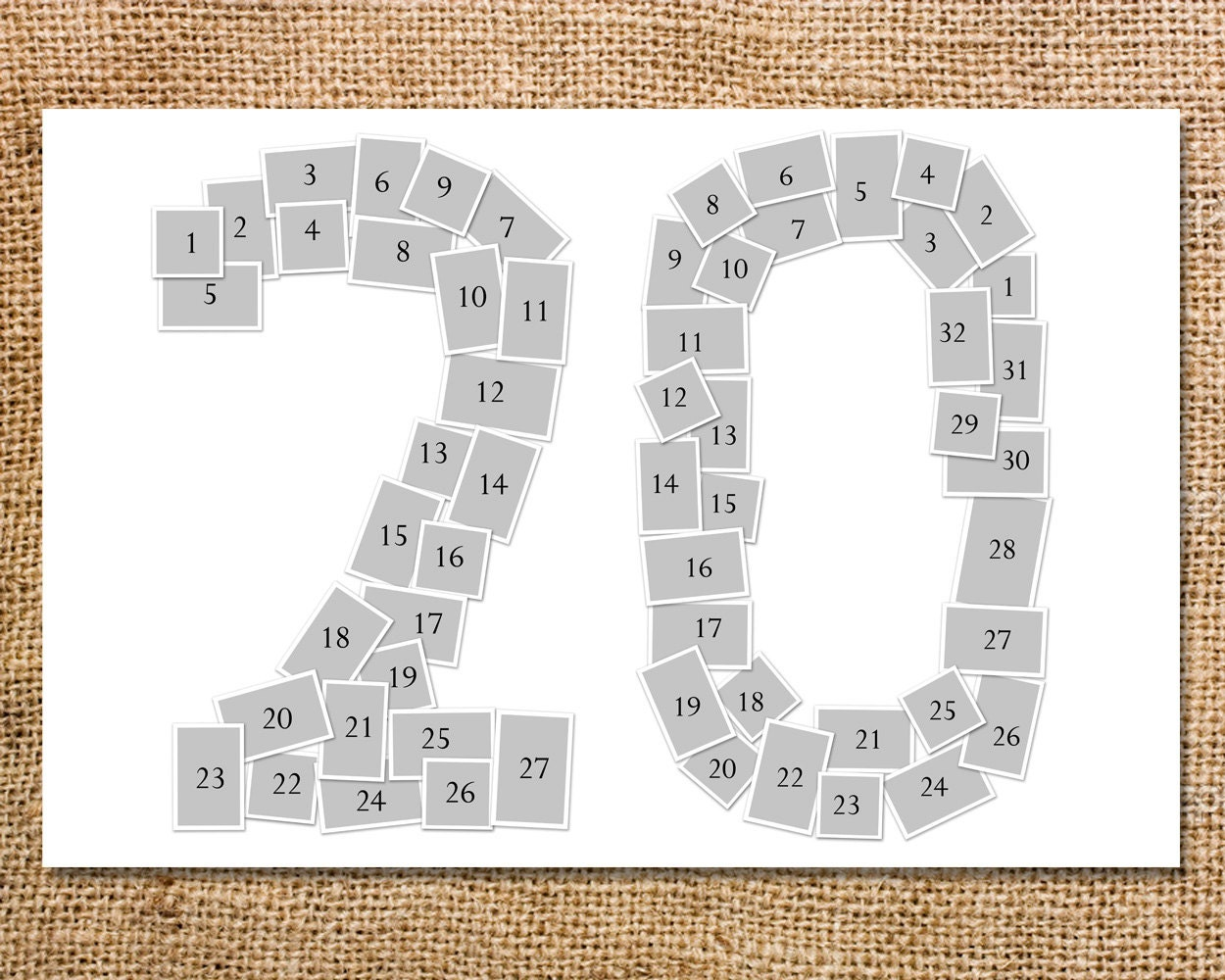 Double digit number photo collage printable 20 30 40 50 for Photo collage number templates