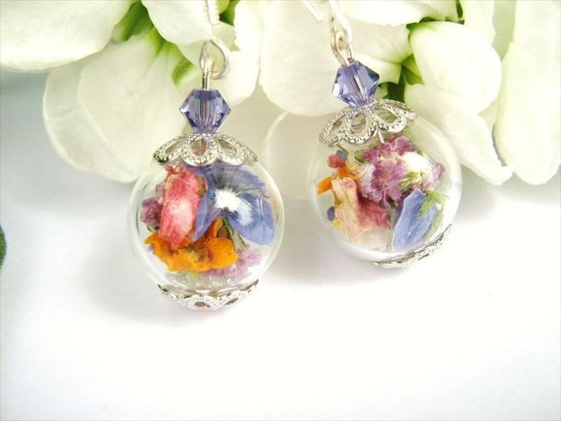 Real Flower Glass Bead Earrings Real Dried Flowers Flower