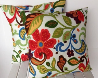 One Floral pillow cover, cushion, decorative throw pillow, decorative pillow, accent pillow, 18x18 pillow, pillow case