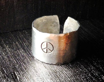 Personalized Ring, Engraved ring, Peace, Gypsy, Hippie, Adjustable Finger cuff, EMT, Paramedic, Medic