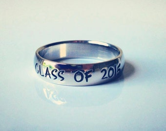 """Class ring, Personalized Ring, Engraved Ring,  """" Wedding Band Style"""", name Ring, WBSS01"""