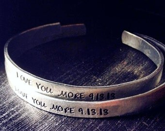 His and Hers Personalized Bracelets, Personalized cuff, Personalized cuff bracelet, mother gift, sister gift, engraved bracelet