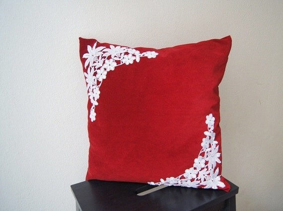 Lace Throw Pillow Covers : PILLOW / Red Pillow Cover Lace Throw Pillow by SpecialFabrics