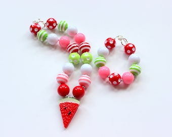 Girls watermelon chunky necklace and bracelet set Birthday pink red lime green bubblegum bead necklace matching bracelet girl bracelet set