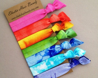The  Spring Collection - 7 Elastic Hair Ties  -  Ponytail Holder - by Elastic Hair Bandz