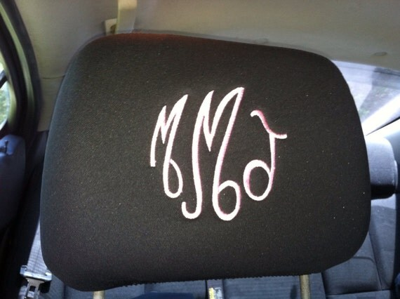Set Of 2 Monogrammed Headrest Covers Black Tan Gray By