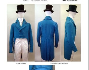 LM122 - 1806-1820 Men's Regency Tailcoat with Collar Notch and Lapel Options Sewing Pattern by Laughing Moon