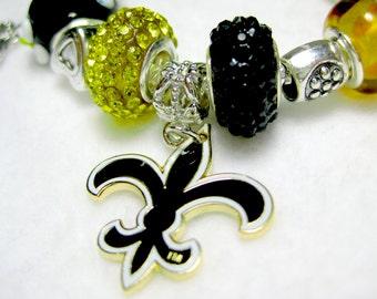 New Orleans Saints Licensed Charm on a European Style Bracelet - Double Sparkle