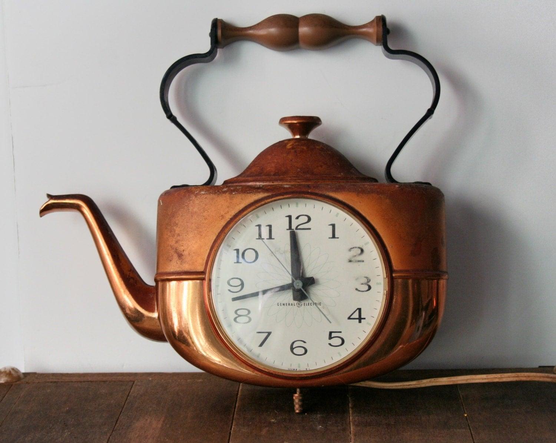 Copper Teapot Clock Vintage General Electric Copper Kettle