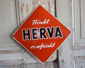 German Enamel Sign Herva Wine Drink