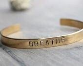BREATHE, Cross, Brass Cuff Bracelet, Gift, Sister Gift, Best Friend, Stamped Jewelry