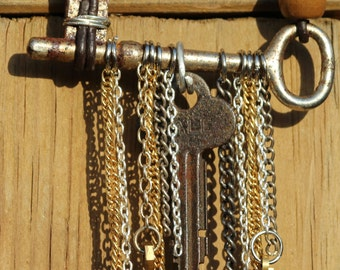 N54 Steampunk Vintage Skeleton Key and Chain Necklace - FREE SHIPPING