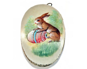 1900s German Hand Painted Silk Easter Egg Candy Container