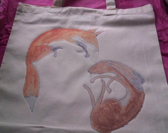 Fox and hare illustrated tote bag