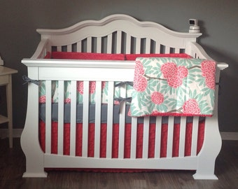 Mint Coral Crib bedding Baby Bedding Crib Set- Caitlin Wilson Premium- bumperless or Bumpers/sheet/skirt- Mint Fleur Chinoise and Coral