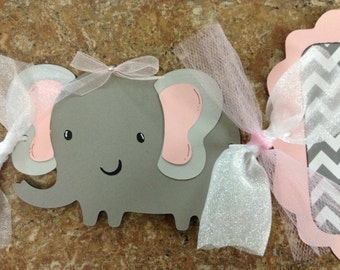 It's a Girl Chevron Elephant Banner
