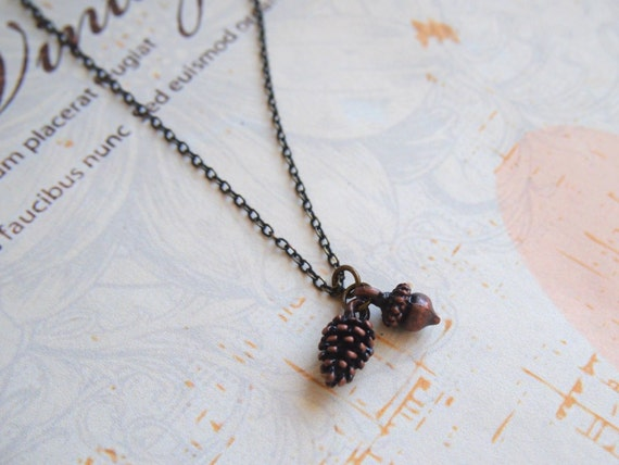 Pine cone and Acorn Necklace, Dainty Fall Necklace, Autumn Woodland, Antiqued Copper, Cute Dainty Jewelry, ,Tree Seed Rustic
